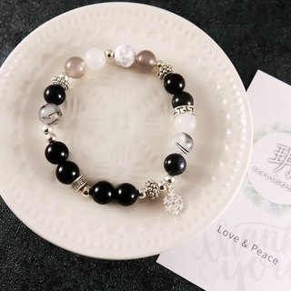 Romantic Snowflake Silver Bracelet│Black and White Series 玥unicorn Natural Stone 925 Sterling Silver Tibetan Silver