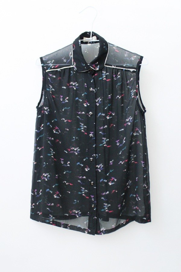 [] RE0622T1537 fresh summer vintage retro print sleeveless black shirt