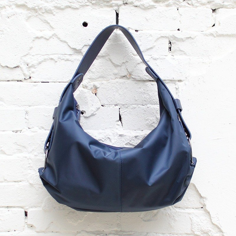 Small meniscus shoulder bag (long and short straps can be exchanged) - blue _198016