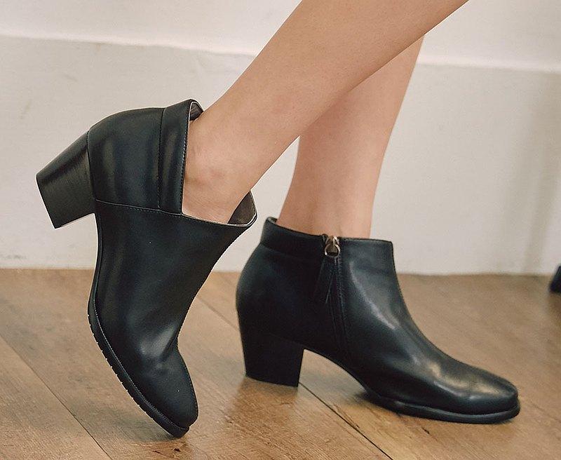 有夠顯瘦V口短靴 大尺碼手工踝靴_黑