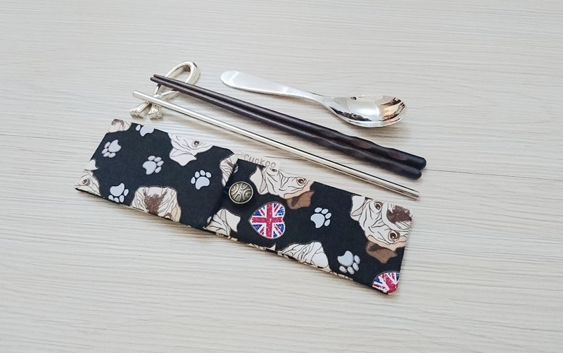Green tableware storage bag chopsticks bag combination chopsticks special double chopsticks bag Bulldog