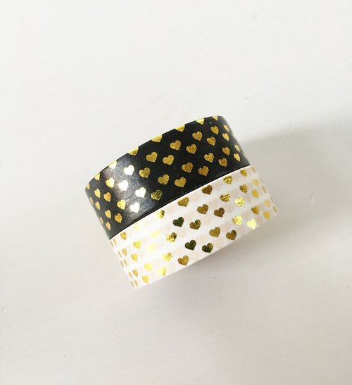 Set of 2 Gold Foil Mini Heart Polka Dot Washi Tape