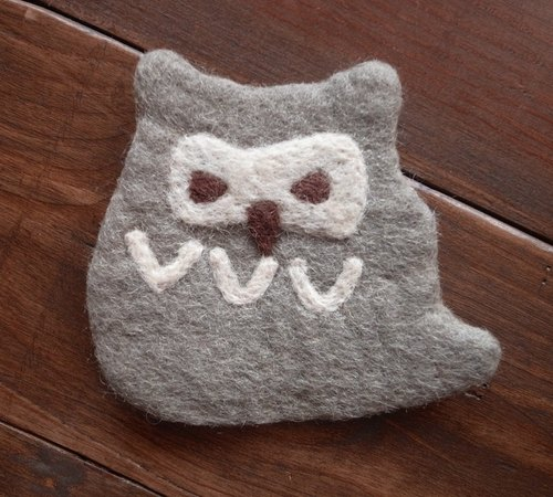Cup coasters, Felt coasters Animal Owl Grey
