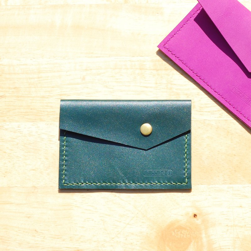 Handy business card holder / purse - leather hand-stitched side (green)