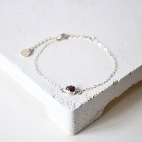 Simple Dark Pink Tourmaline with 925 silver Bracelet, Birth stone for October