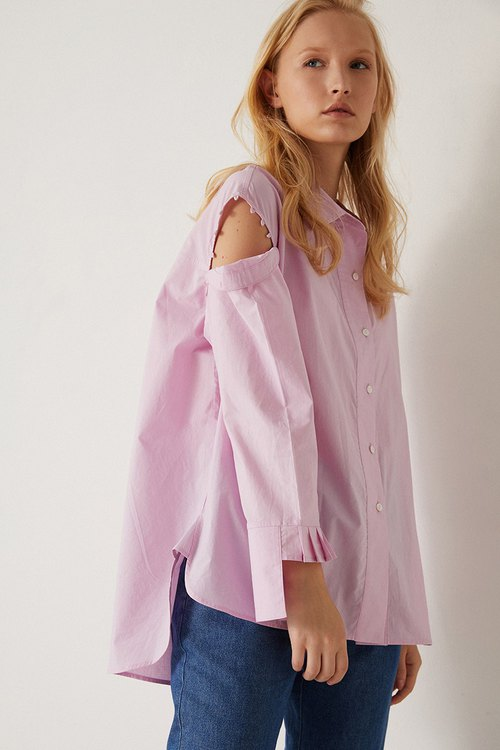 COFFEE PEPPER original design light purple pleated large asymmetric personality long-sleeved loose shirt