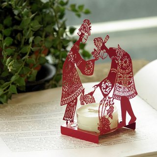 Shadow play hand in hand candlestick – red