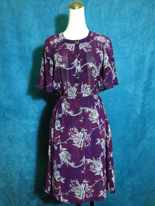 Ping pong ancient [ancient dress / flowers blue and purple chiffon short-sleeved ancient dress] abroad back VINTAGE