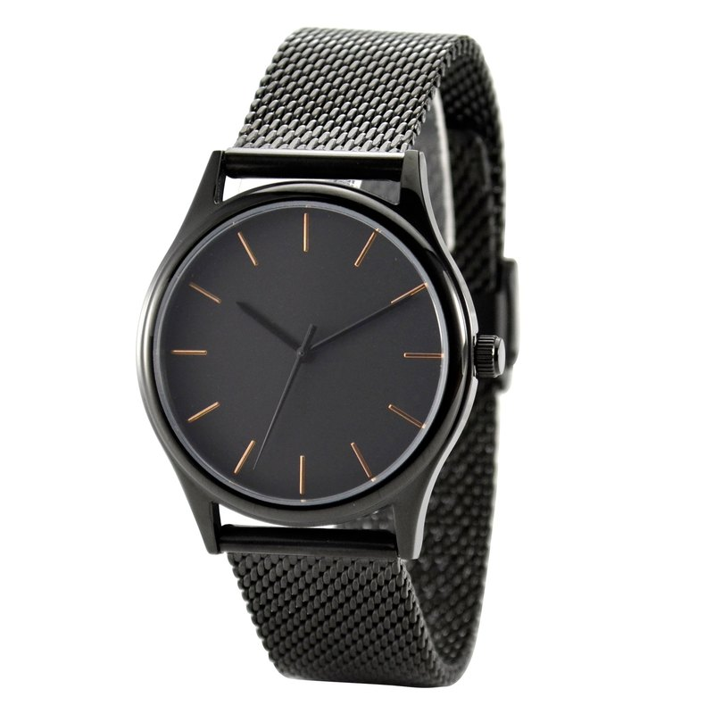 Minimalist Watch with Rose Gold thin stripes black in Mesh Band - Free shipping worldwide