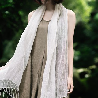 Artichoke dye-free series - linen pure white hand-woven multi-purpose shawl
