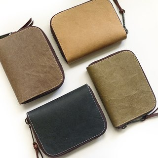 Washed kraft paper。Classic short clip/Wallet / wallet / purse (four-color)