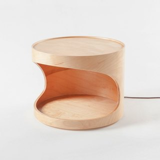 andMore wood circle furniture | handmade wooden side table lamps | three sections touch dimmer