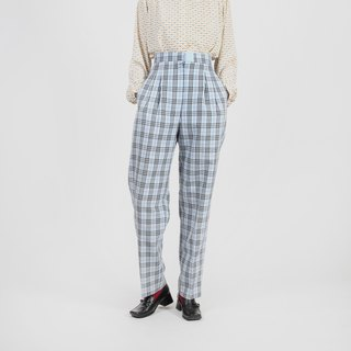 [Egg plant ancient] Breeze breath straight plaid vintage old pants