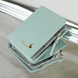 """ Milky Blue "" Pocket Book Short Wallet / Cow Leather"