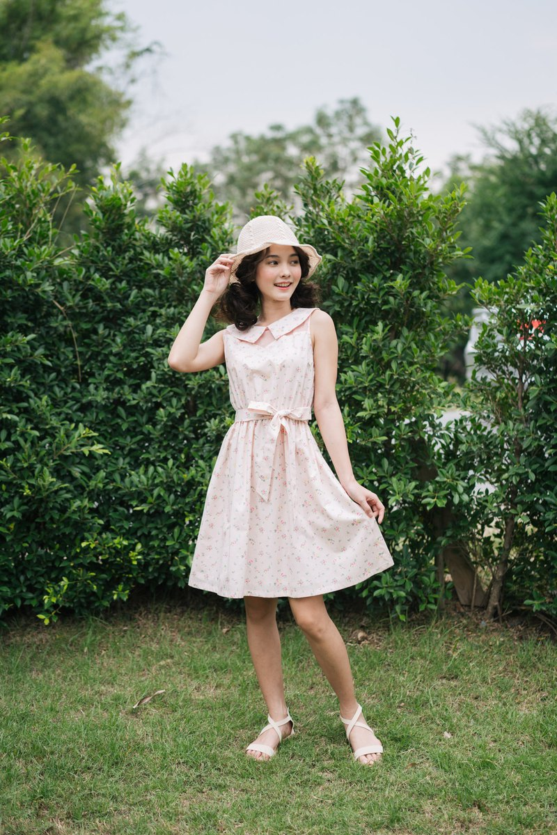 Floral Dress Pale Pink Dress Cotton Dress Peter Pan Collar Dress Vintage Derss