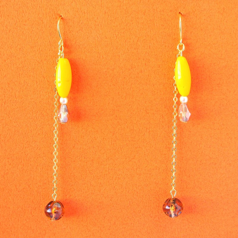 Chrysanthemum maru lab · Ming yellow lintel glass beads / texture brown star long chain earrings / ear clip (EH023)
