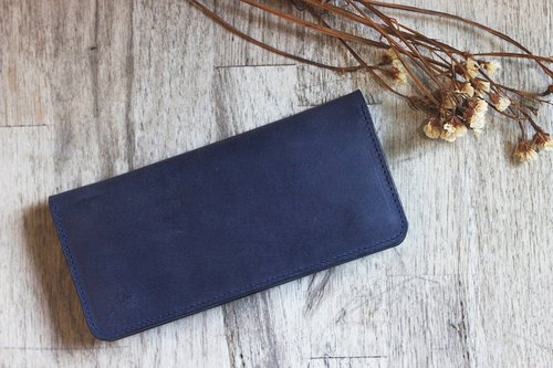 Italy deep blue vegetable tanned leather two buckle zipper manual long clip