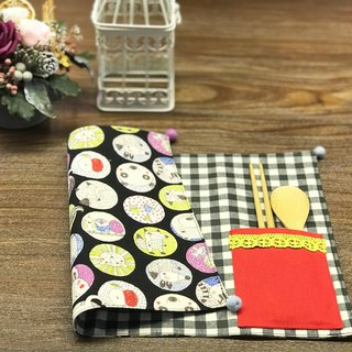 Handmade placemat - waterproof material - to pay tableware storage bag - a lot of animal pictures