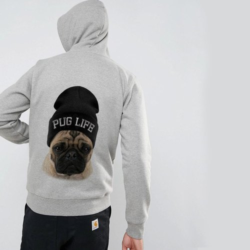 PUG LIFE 【Spot】 long-sleeved bristles and hooded T 2 color pakugpa fighters dog animal American cotton