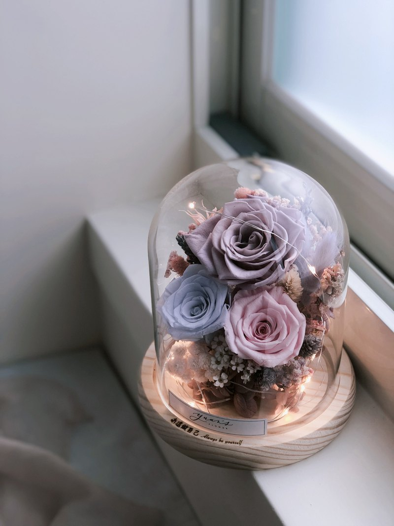 Gentle violet ecuador eternal life rose night light small flower cup christmas gift beast rose