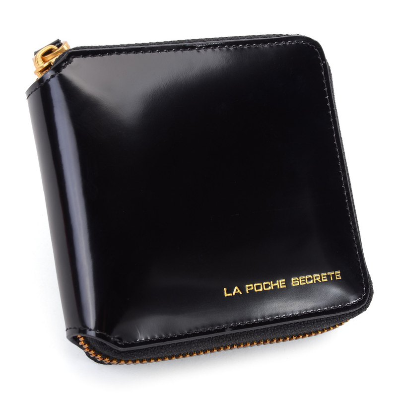 La Poche Secrete Christmas Gifts: Candy Girl's Short Leather Case Folder _ ㄇ-type zipper off _ gloss black 028