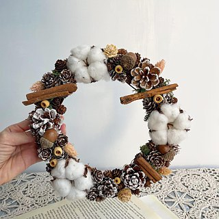 Early Winter Classical - Cotton Fruit Candlestick Dry Wreath Christmas Wreath (Limited) Table Flower