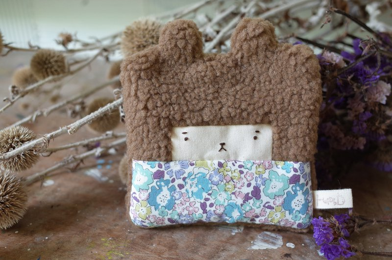 Doll Bunny Purse - Brown Hair - Blue Flowers
