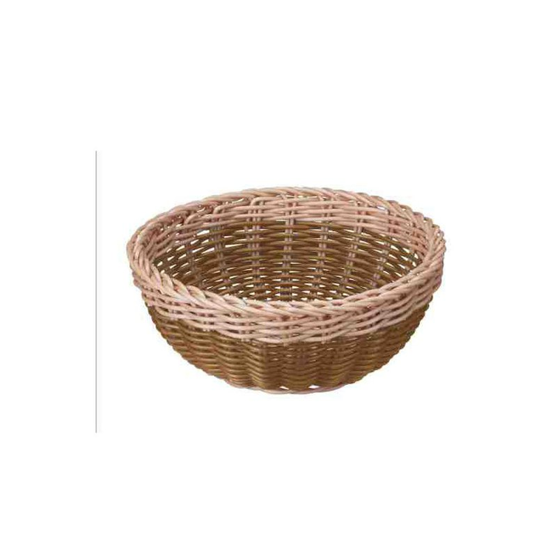 CB Japan Latin Series Washable Basket Round Rattan-Two-Tone Brown