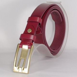 Handmade leather belt women's leather narrow belt wine red L free customized lettering service