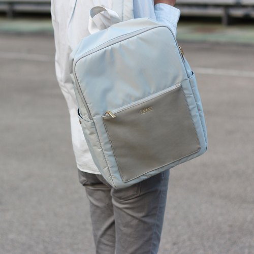 【Time Limit】 Kendall Stone Gray Gray Leather Texture Waterproof Nylon Notebook Backpack
