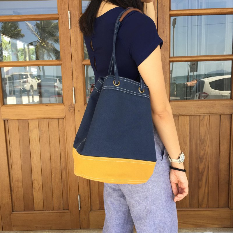 Navy/Mustard Canvas 2way Bucket Bag w/ Strap Leather Handles.