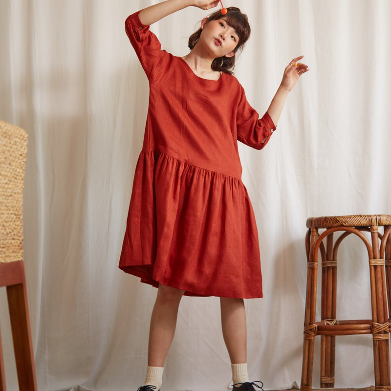 Linen Midi Dress in Burgundy Red Colour