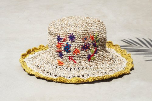 Mother's Day gift limit a hand-woven cotton / hat / hat / fisherman hat / sun hat / straw hat / straw hat - Boho rainbow embroidery flowers forest wind (yellow)