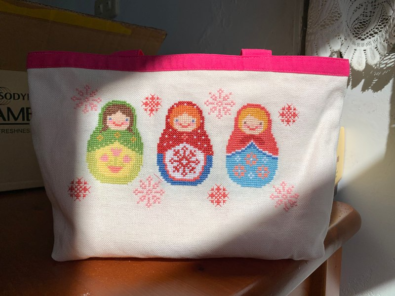 Handmade Embroidery-Russian Doll | Shopping Bag Tote