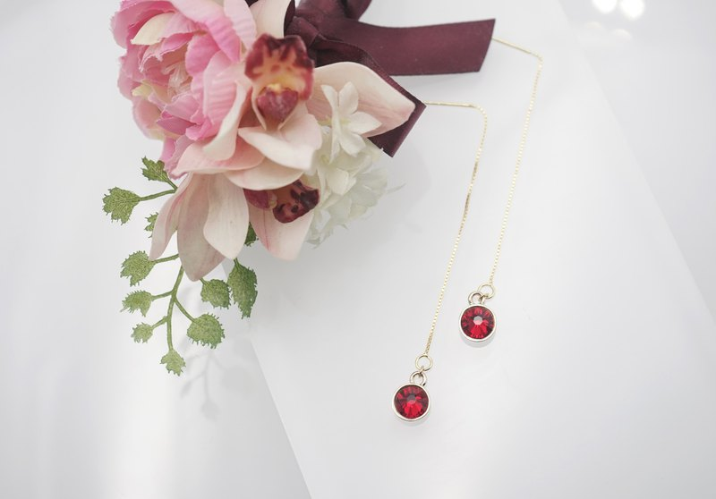 Swarovski Crystal 925 Silver Earring (Color: Red)