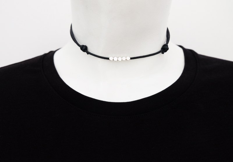 Silver beads adjustable knot cord choker / necklace in black , waxed cotton cord