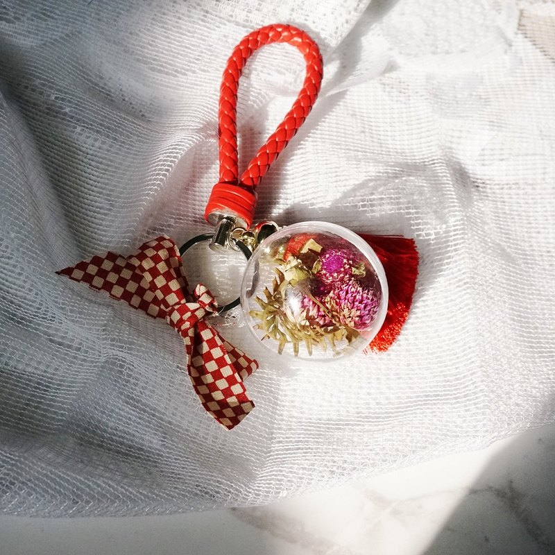 Eternal flowers transparent ball key ring (small) - combined dry flower