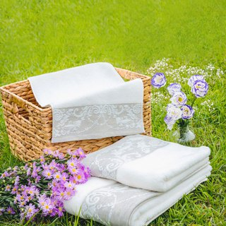 Wisteria Garden Love - Portugal Import I Thick Touch I Bath Towel + Small Towel I Two