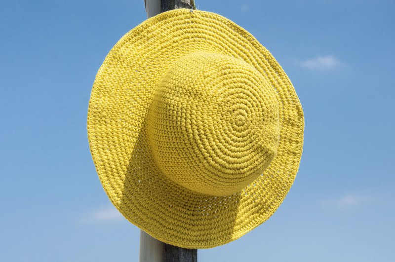 Crocheted cotton and linen hat hand-woven hat fisherman hat visor straw hat straw hat - original summer lemon