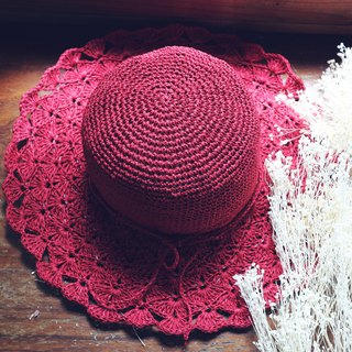 Handmade - Crimson Flower Hat - Hand Braided Sun Hat - Hand Knitting - Travel / Birthday Gift / Couple Hat