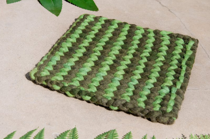 Ethnic wind forest wool felt pot mat rainbow placemat insulation pad - macarons matcha cake stripe weave