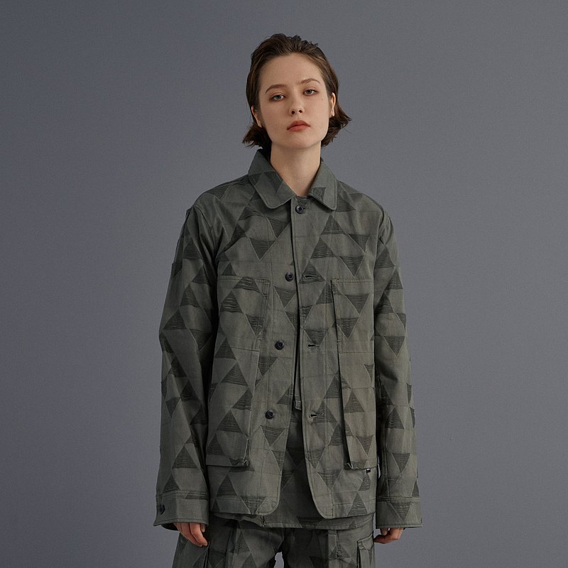 DYCTEAM-(DIST.)-triangle jacquard patch pocket jacket