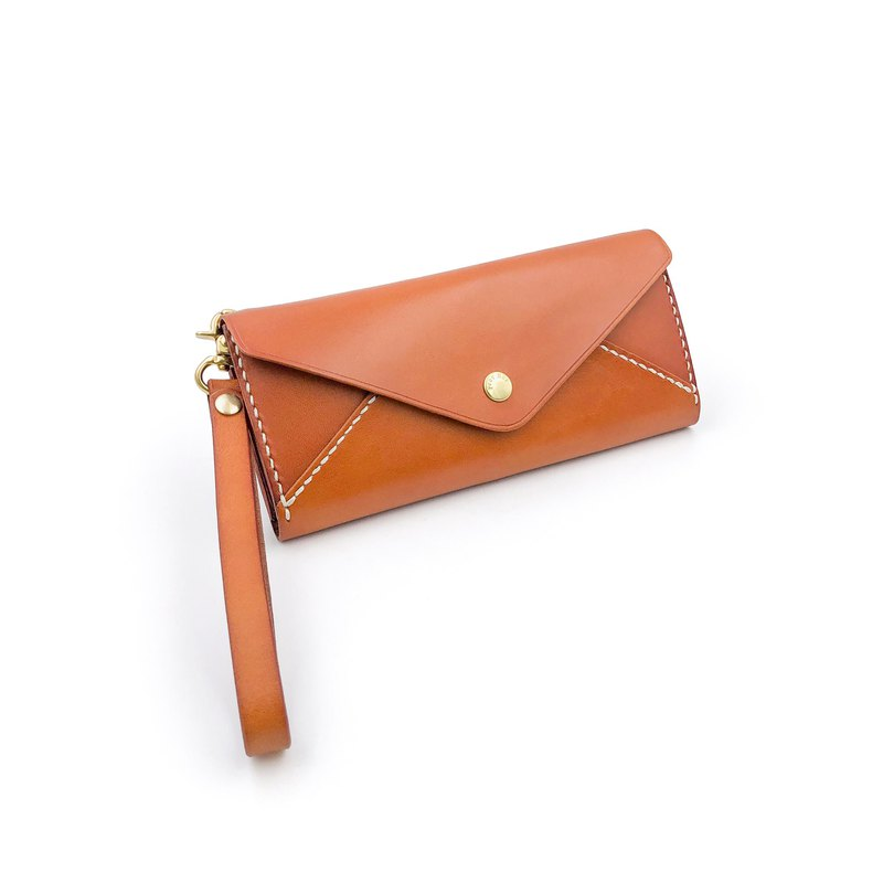 Handmade vegetable tanned leather-envelope clip