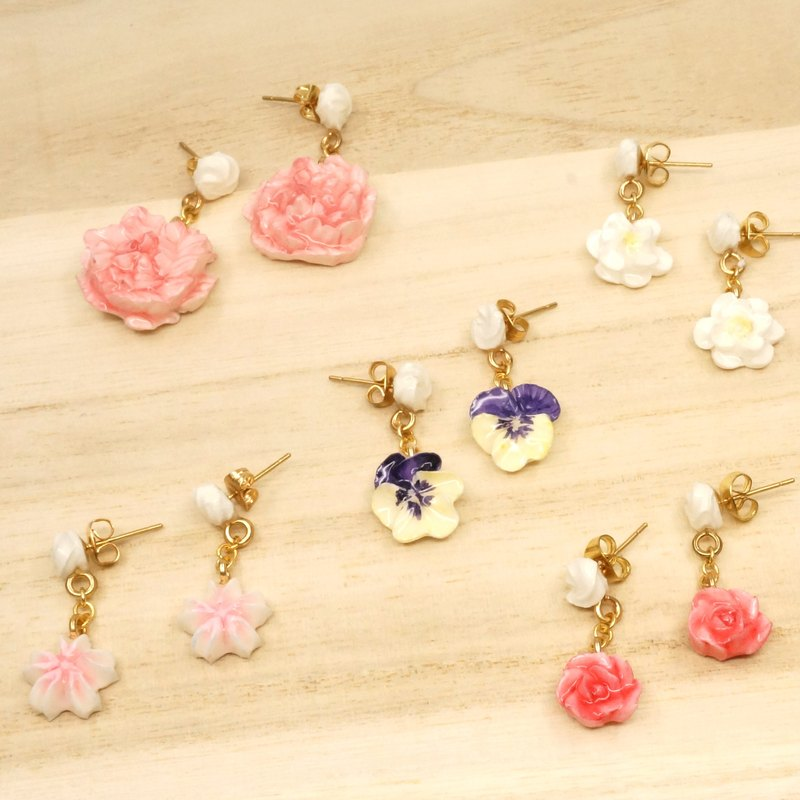 =Flower Piping= Customize Floral Drop Earrings