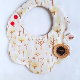 Forest Trees - Beige - Eight Layers 100% Cotton Double Sided Circular Shape Bib. Saliva Towel