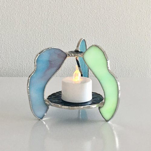 Candle night LED Candle Holder Wave Melon Green Blue Bay View