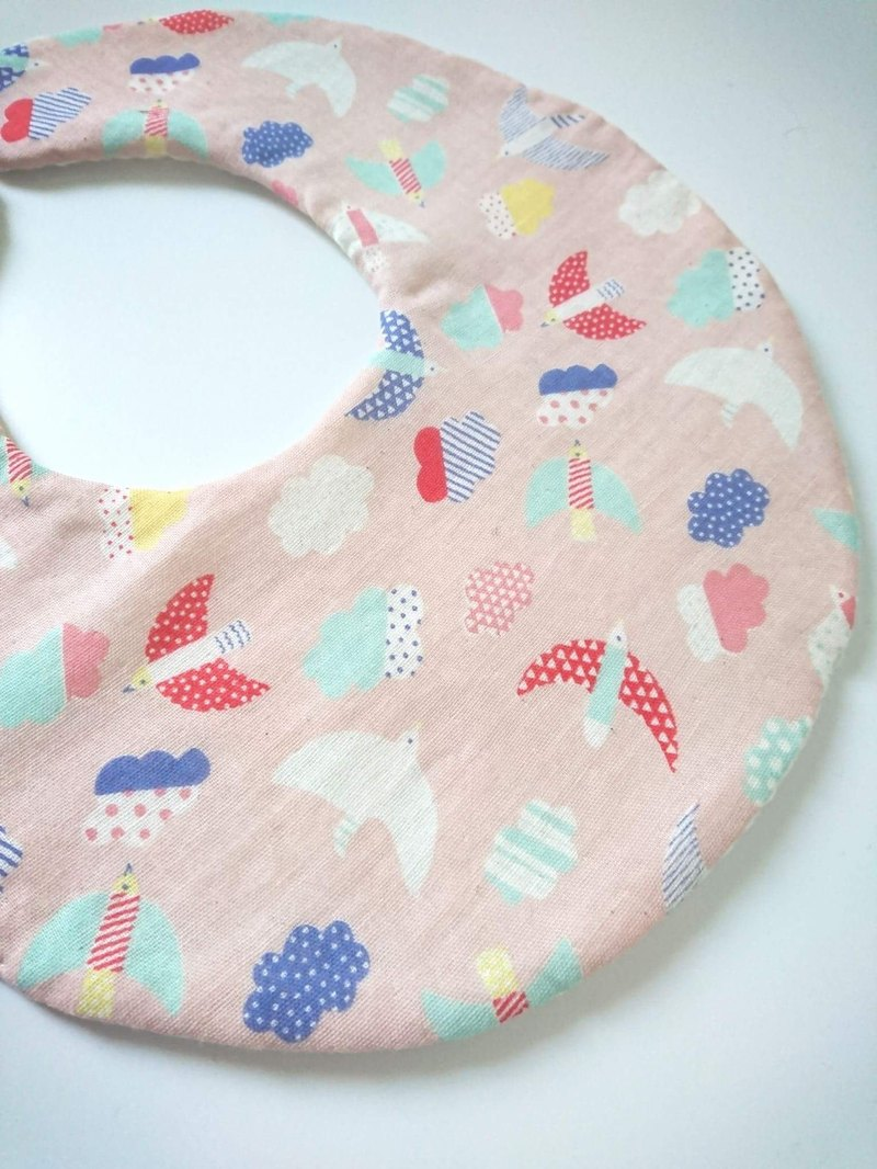 Bonbon Baby Double Yarn + Terry Double Sided Bib_Pink Birds