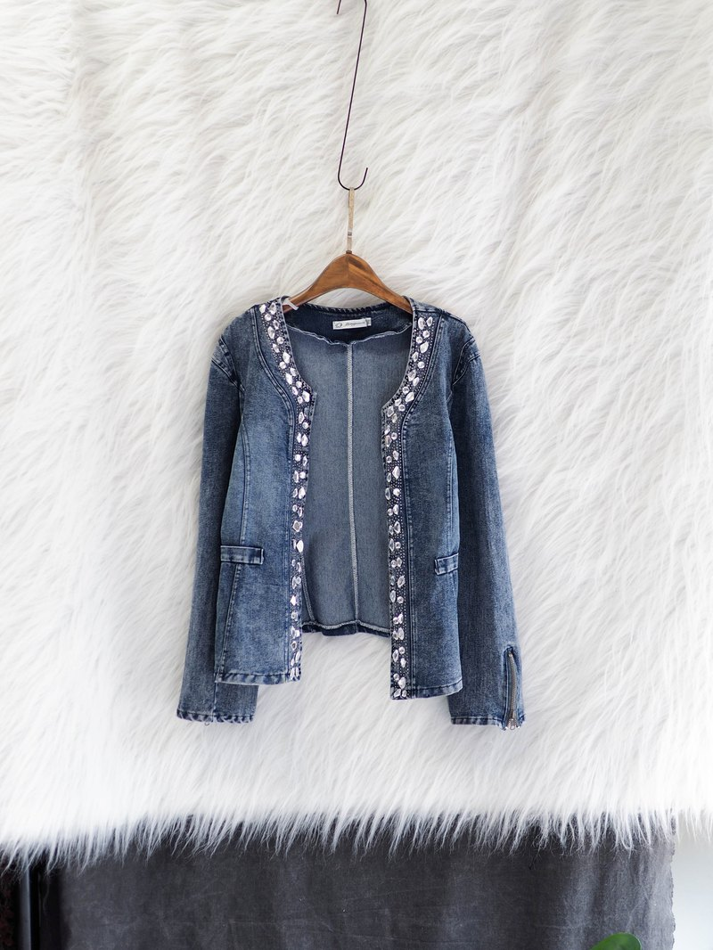 Aqua blue light gray bright diamond round neck without buckle elegant woman antique cotton denim denim jacket jacket vintage