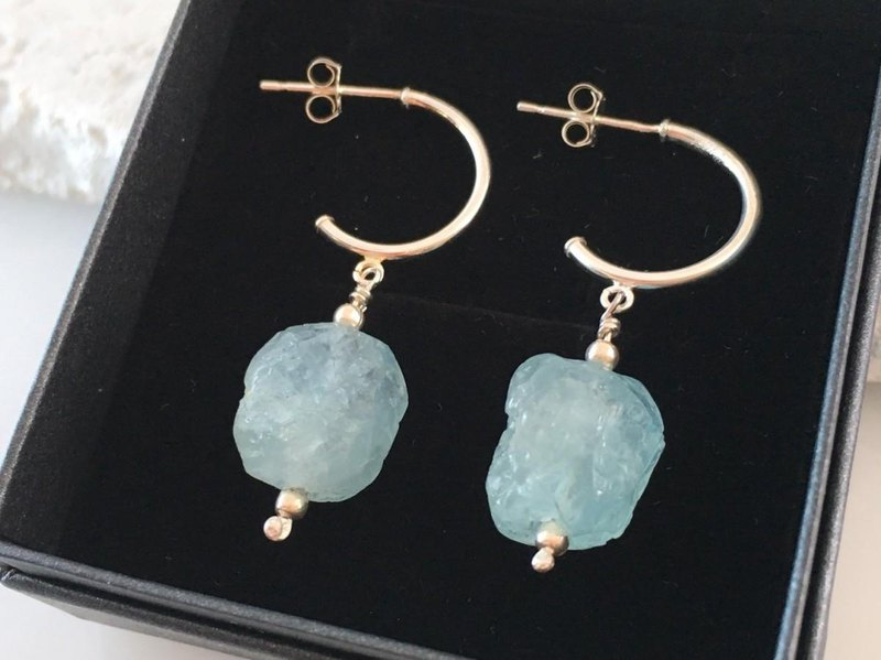 ◇ Aquamarine Ore ◇ SV earrings