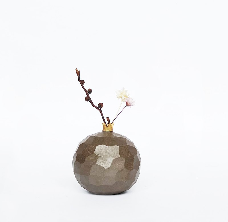 Handcrafted Ceramic Pomegranate Vase -Matt Brown